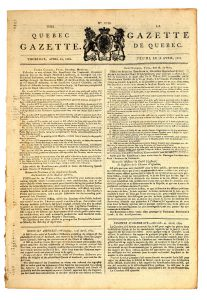 Original front page of an old Canadian newspaper, dated 1804.